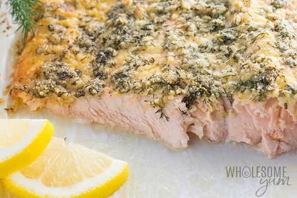 keto baked lemon herb parmesan crusted salmon recipe